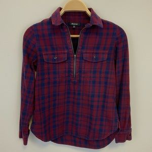 Madewell Popover Red Flannel Shirt with Zipper XS